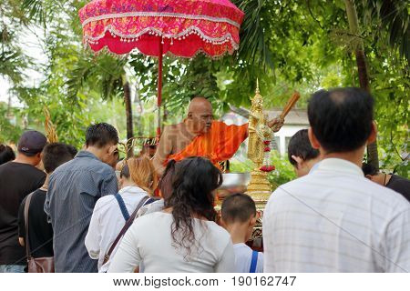 Ratchaburi Thailand - October 18 2016:Buddhist monks are blessing to people in the end of Buddhist Lent Day.