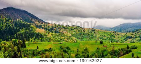Rural Area In Mountains On Overcast Day