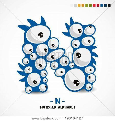 Monster alphabet. Letter N. A strange animal. Vector illustration on white background. Great children's print. The concept of a kid's toy.