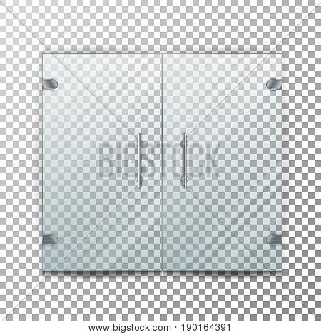 Glass Door Transparent Vector. Realistic Store Glass Door For Market And Fashion Boutique. Checkered Background