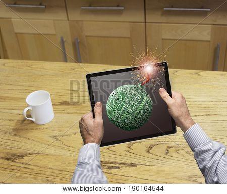 Lit bomb fuse on Caucasian businessman's tablet computer