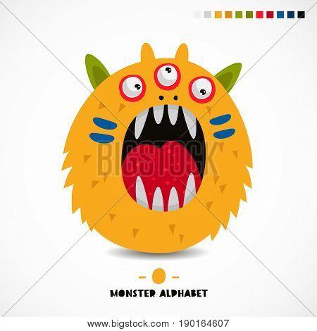 Monster alphabet. The letter O. Strange animal. Vector illustration on white background. Great children's print. The concept of a kid's toy.