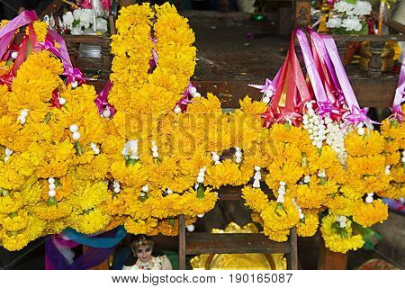yellow flower offer spirit respect meditation  thailand