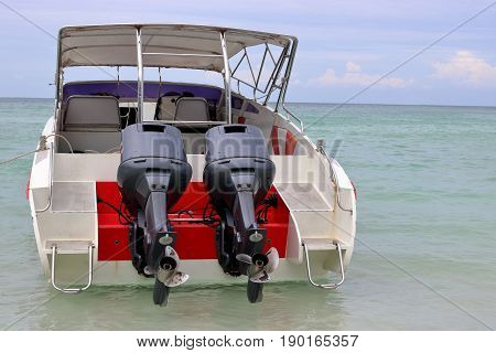 Behind view of speed boats in the sea motor boat personal water craft