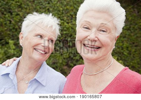 Older Caucasian women smiling