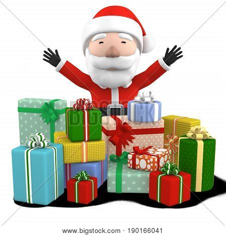 Santa presents colorful wrapped gift boxes. 3D illustration isolated on white background.