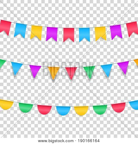 Buntings garlands isolated on transparent. Colorful buntings decorations for holiday events.
