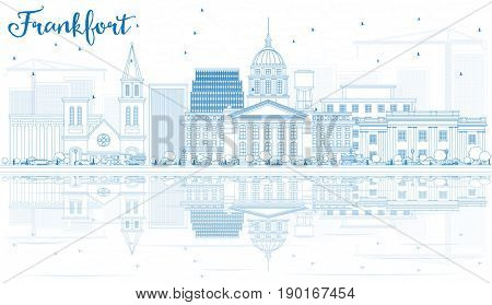 Outline Frankfort Skyline with Blue Buildings and Reflections. Business Travel and Tourism Concept with Modern Architecture. Image for Presentation Banner Placard and Web Site.