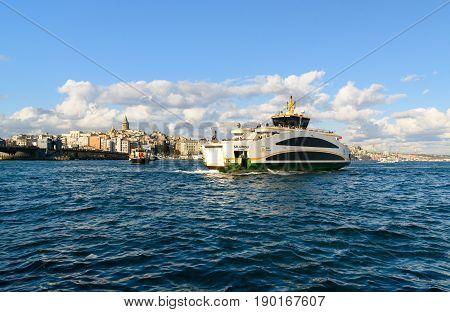 Ferry Boat In Bosporus , Istanbul, Turkey