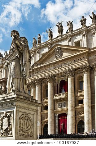 Rome, Italy - April 14, 2017: 19th Century statue by Giuseppe De Fabris, showing Saint Peter the Apostle, in St Peter's Square in the Vatican City, Rome.