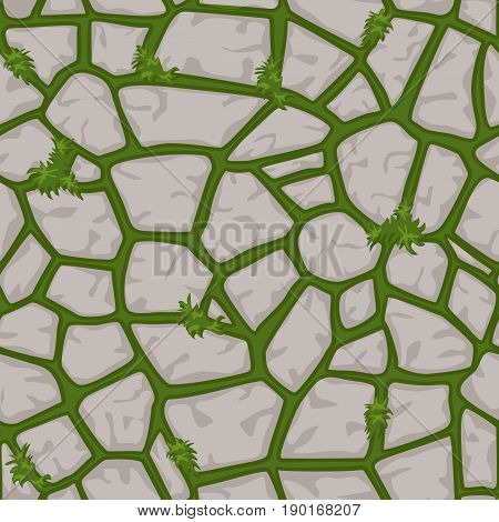 view from above, Cartoon stone on grass texture in gray colors seamless background