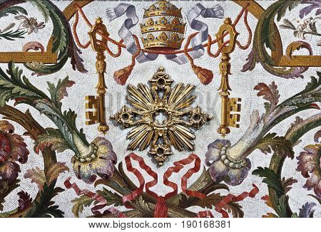 Rome,Vatican, Italy - April 14, 2017: Interior of historical building Ornements on the wall in St Peter's Cathedral in Vatican