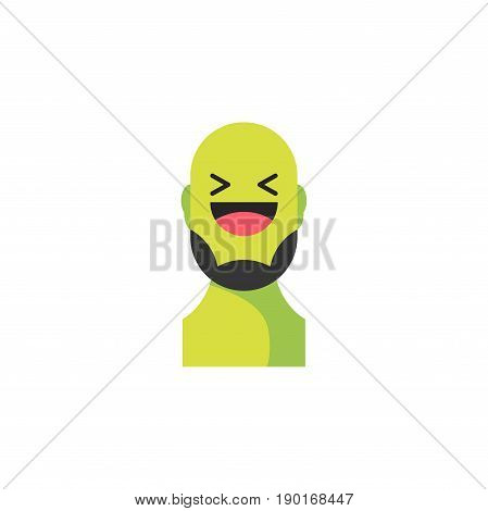 Laughing Green Smiley With Beard. Like Social Icon. Button For Expressing Social Emoji. Flat Vector