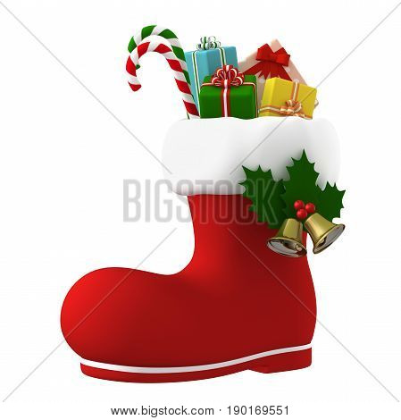 Happy Christmas. Santa Claus boot stuffed with presents. 3D illustration