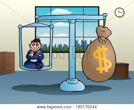 illustration of a business scale money on office background