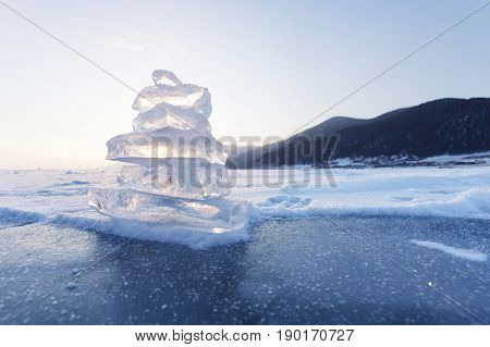 Pyramid Of Ice Floes. Lake Baikal Landscape