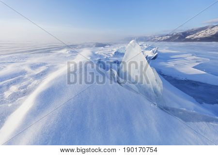 Transparent Ice Floe. Winter Landscape. Ice-drift Of Baikal Lake