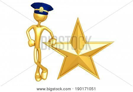 Police Officer The Original 3D Character Illustration With A Star