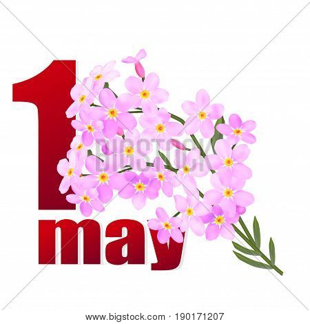 Postcard for holiday of Spring and Labor. Mayday. 1 may in pink flowers . Vector illustration