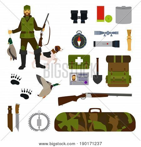 Hunting flat icon set isolated vector illustration Hunter, dog, duck, hunting shotgun, compass, backpack, knife, binoculars, lantern