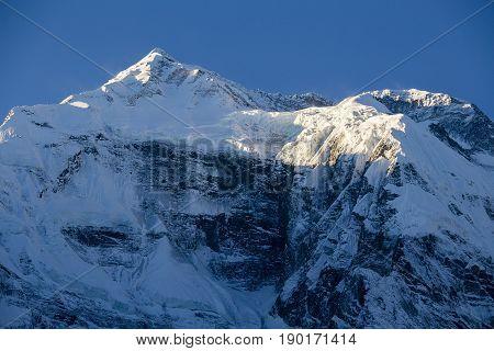 Beautiful landscape in Himalayas Annapurna region Nepal. Sunrise in the mountains