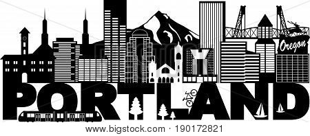 Portland Oregon Outline Silhouette with City Skyline Downtown Panorama and Text Black Isolated on White Background Illustration