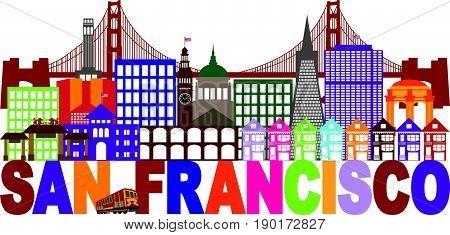 San Francisco California City Skyline with Golden Gate Bridge Multi Color Text vector  Illustration