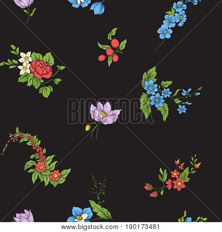 Seamless pattern with vintage embroidered flowers in vintage style on black background.Stock line vector illustration.
