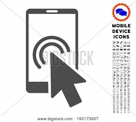 Arrow Double Click Smartphone icon with digital icon clip art. Vector illustration style is a flat iconic symbol, gray colors. Designed for web and software interfaces.