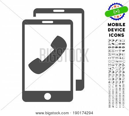 Cell Phones icon with cell phone pictogram collection. Vector illustration style is a flat iconic symbol, gray colors. Designed for web and software interfaces.