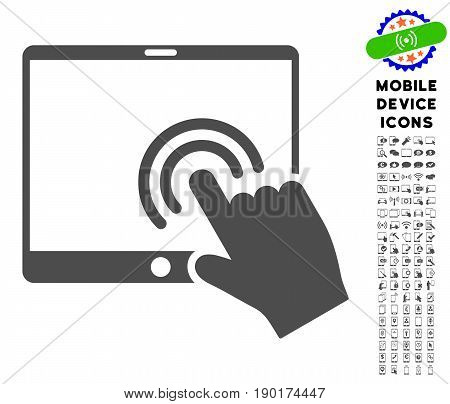 Double Click Tablet icon with smartphone glyph set. Vector illustration style is a flat iconic symbol, gray colors. Designed for web and software interfaces.