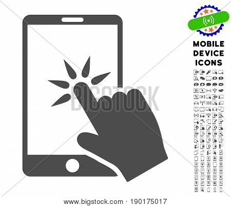 Hand Click Smartphone icon with mobile device glyph clip art. Vector illustration style is a flat iconic symbol, gray colors. Designed for web and software interfaces.