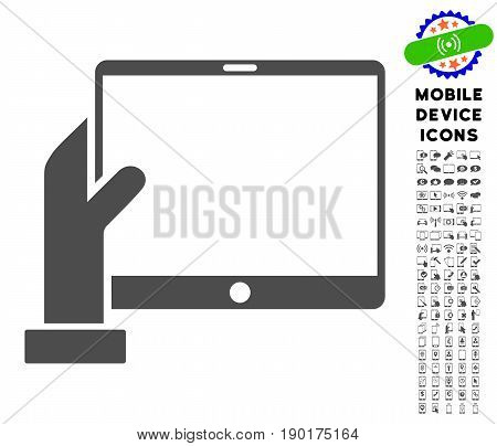 Hand Holds PDA icon with smartphone icon pack. Vector illustration style is a flat iconic symbol, gray colors. Designed for web and software interfaces.