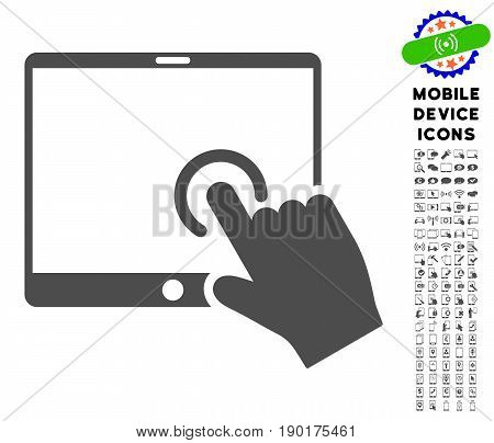 Hand Touch PDA icon with smartphone pictogram clipart. Vector illustration style is a flat iconic symbol, gray colors. Designed for web and software interfaces.