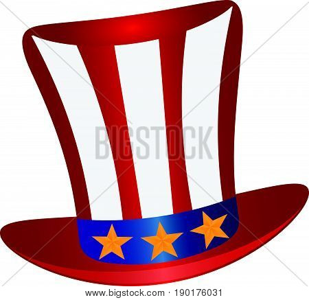 Fourth of July Hat with Red White Blue Stripes and Gold Stars for 4th July Independence Day vector  Illustration