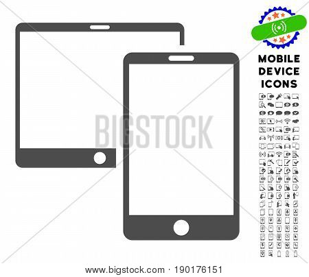 Mobile Devices icon with mobile communicator glyph package. Vector illustration style is a flat iconic symbol, gray colors. Designed for web and software interfaces.