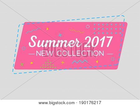 Trendy Sale Geometric Vector Bubble. New Summer Collection Tag Business Label Promo Badge. Flat Shape Vintage Style. Bright Retro Background with Memphis Style Pattern for Sale Promo Marketing.
