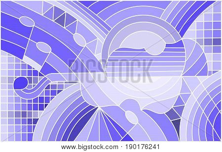 Illustration in stained glass style on the subject of music the shape of an abstract violin on geometric background blue tone