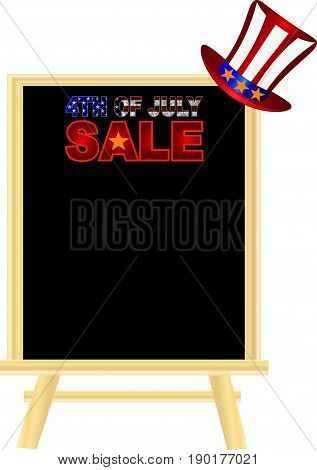 Fourth of July Hat with Red White Blue Stripes and Gold Stars on retail sign board display for Independence Day Sale vector  Illustration