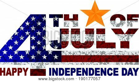 4th of July Happy Independence Day American Flag Grunge Texture Outline Gold Star vector  Illustration