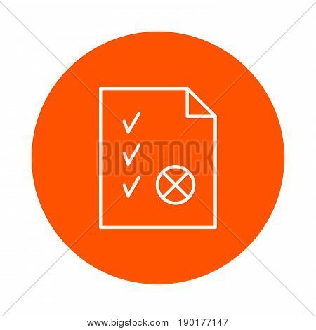 sheet of paper with a folded corner ticks and a seal a vector monochrome round icon a flat style.