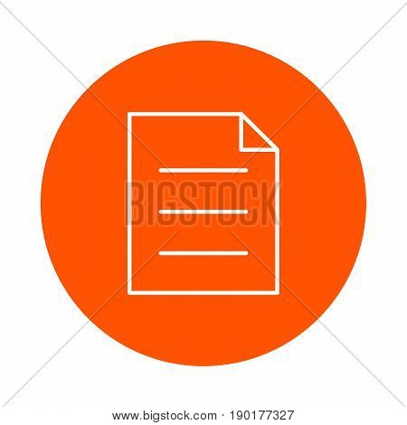 A sheet of paper with a curved corner and three paragraphs of text a vector monochrome round icon a flat style.