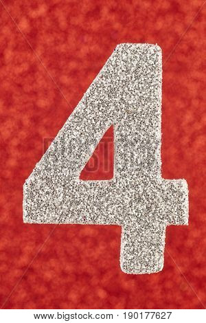 Number four silver color over a red background. Anniversary. Vertical