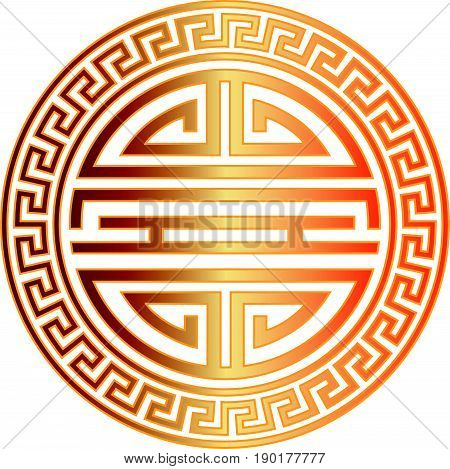 Chinese Longevity gold symbol character with scroll border for birthday celebration vector illustration