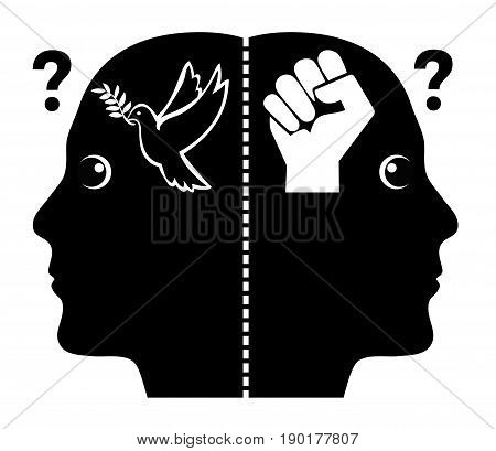 Between Peace and War. Person asks himself either to go for peaceful or violent problem solution