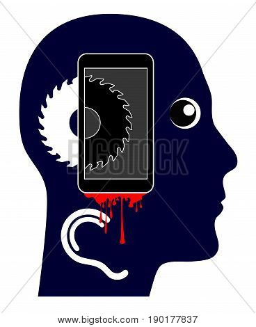 Smartphone is killing you. Satirical concept sign of person who gets hurt by the use of cellphone