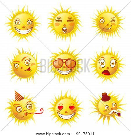 Sun smiles and summer cartoon emoticons and emoji faces expressions. Vector isolated icons of shining sun smiling in sunglasses, birthday party hat and hearts in eyes