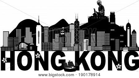 Hong Kong City Skyline and Big Buddha Statue Panorama Black Abstract Text Isolated on White Background vector  Illustration