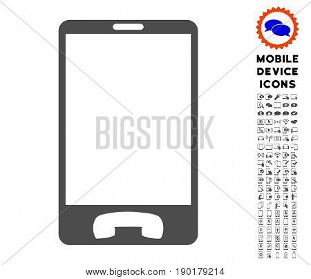 Mobile Phone icon with mobile communicator pictogram pack. Vector illustration style is a flat iconic symbol, gray colors. Designed for web and software interfaces.