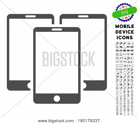 Mobile Phones icon with mobile communicator icon clipart. Vector illustration style is a flat iconic symbol, gray colors. Designed for web and software interfaces.